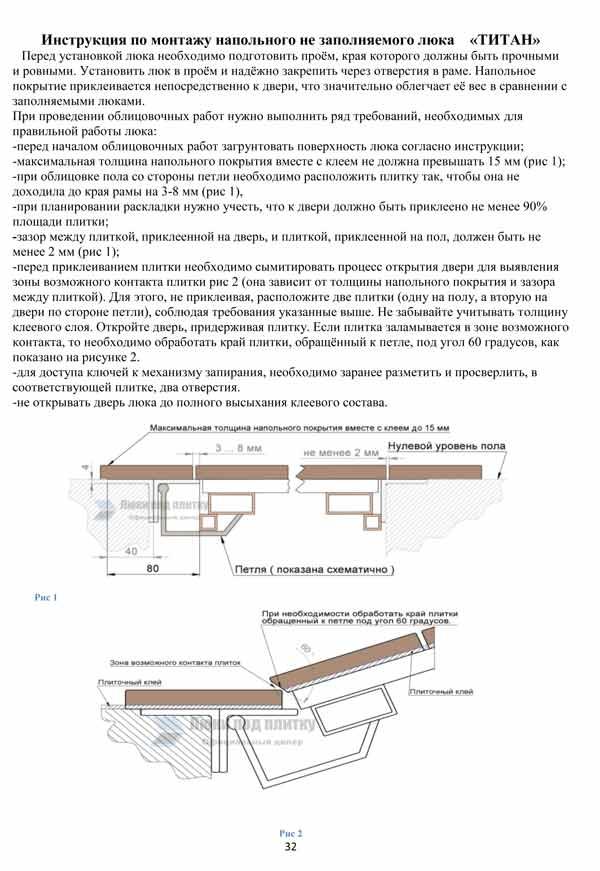 инструкция по монтажу напольного люка